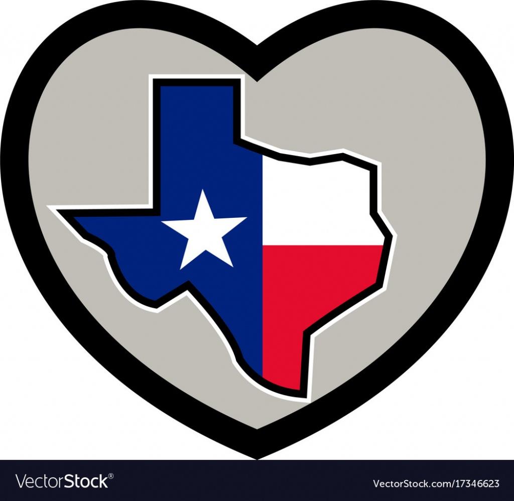 Texas Flag Map Inside Heart Icon Royalty Free Vector Image - Texas Flag Map
