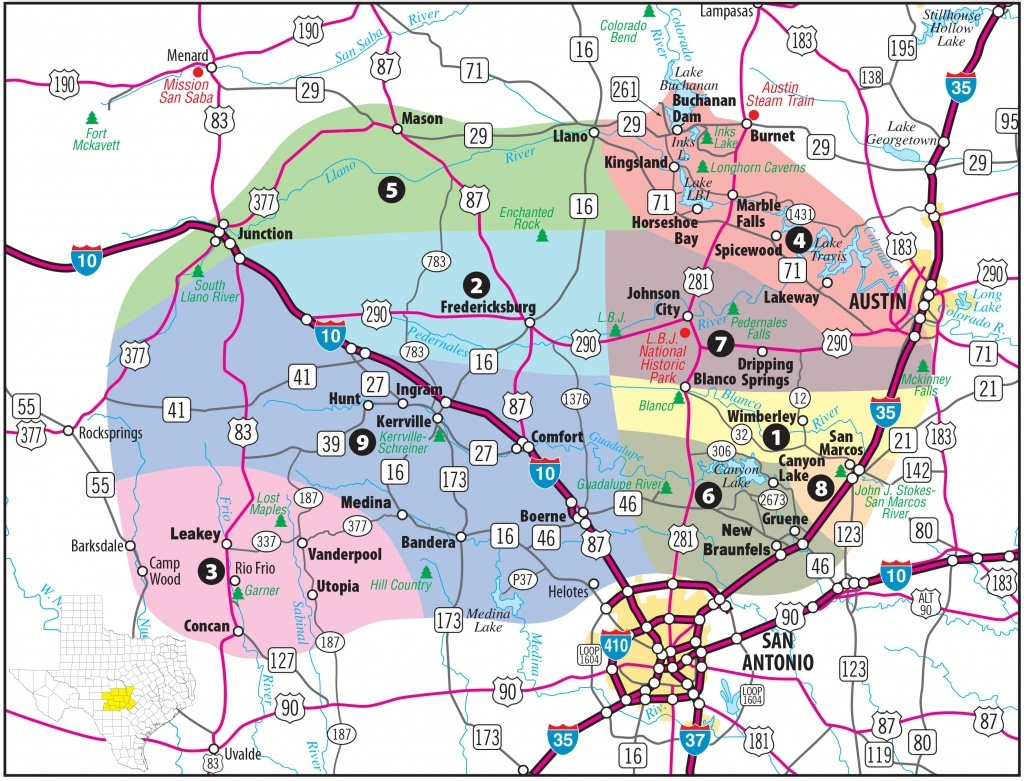 Texas Hill Country Map With Cities & Regions · Hill-Country-Visitor - Hill Country Texas Wineries Map
