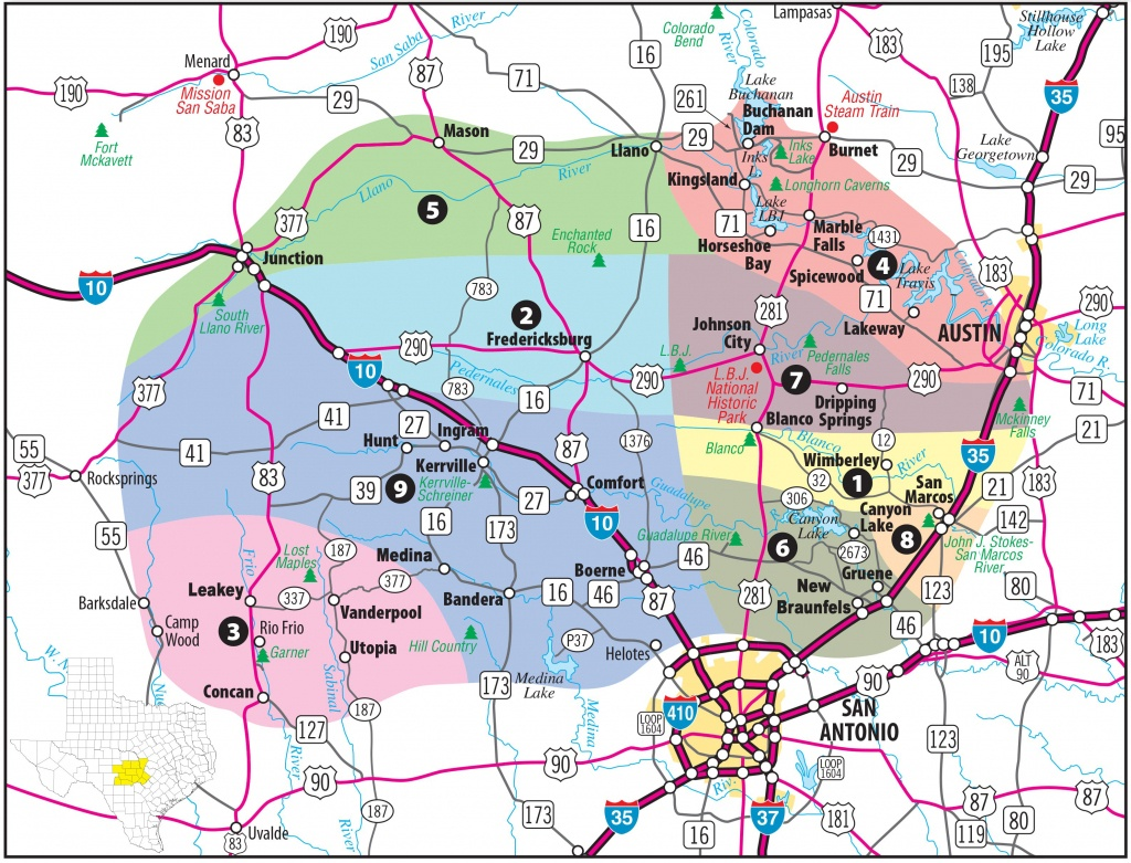 Texas Hill Country Map With Cities & Regions · Hill-Country-Visitor - Map Of Central Texas Cities