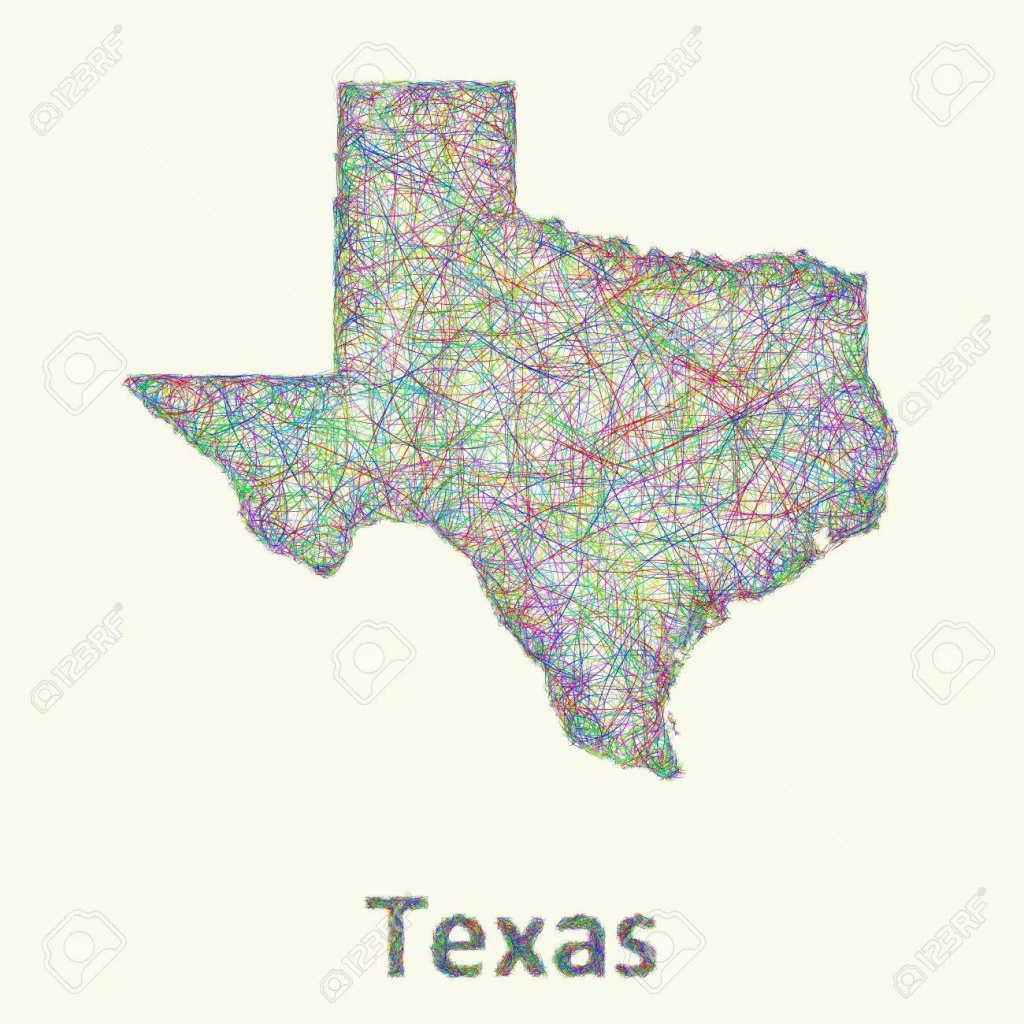 Texas Line Art Map From Colorful Curved Lines Royalty Free Cliparts - Map Of Texas Art