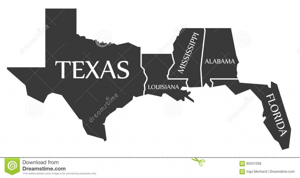 Texas - Louisiana - Mississippi - Alabama - Florida Map Labelled - Mississippi Florida Map