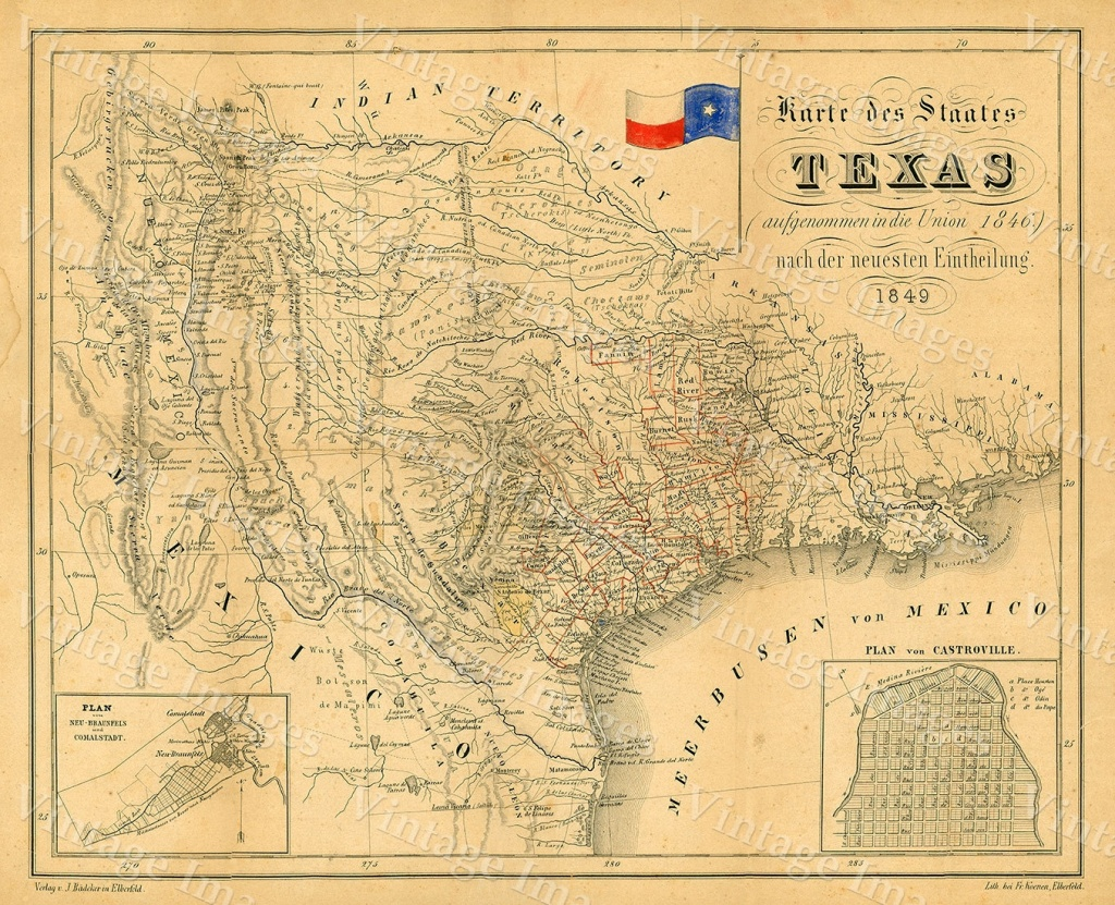 Texas Map 1849 Map Of Texas Texas Old Map Of Texas Vintage Map   Etsy - Texas Map Wall Decor