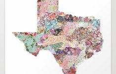 Texas Map Art Printpoeticmaps   Society6   Texas Map Artwork