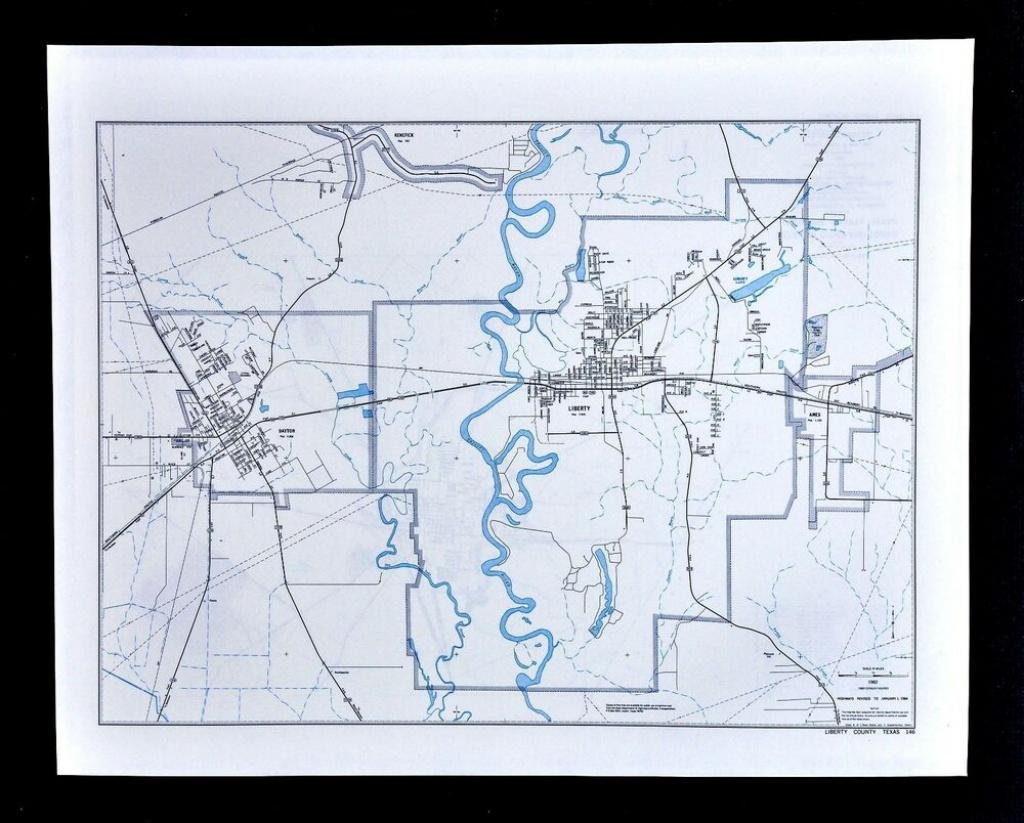 Texas Map - Liberty County - Dayton Kenefick Ames Trinity River | Ebay - Dayton Texas Map
