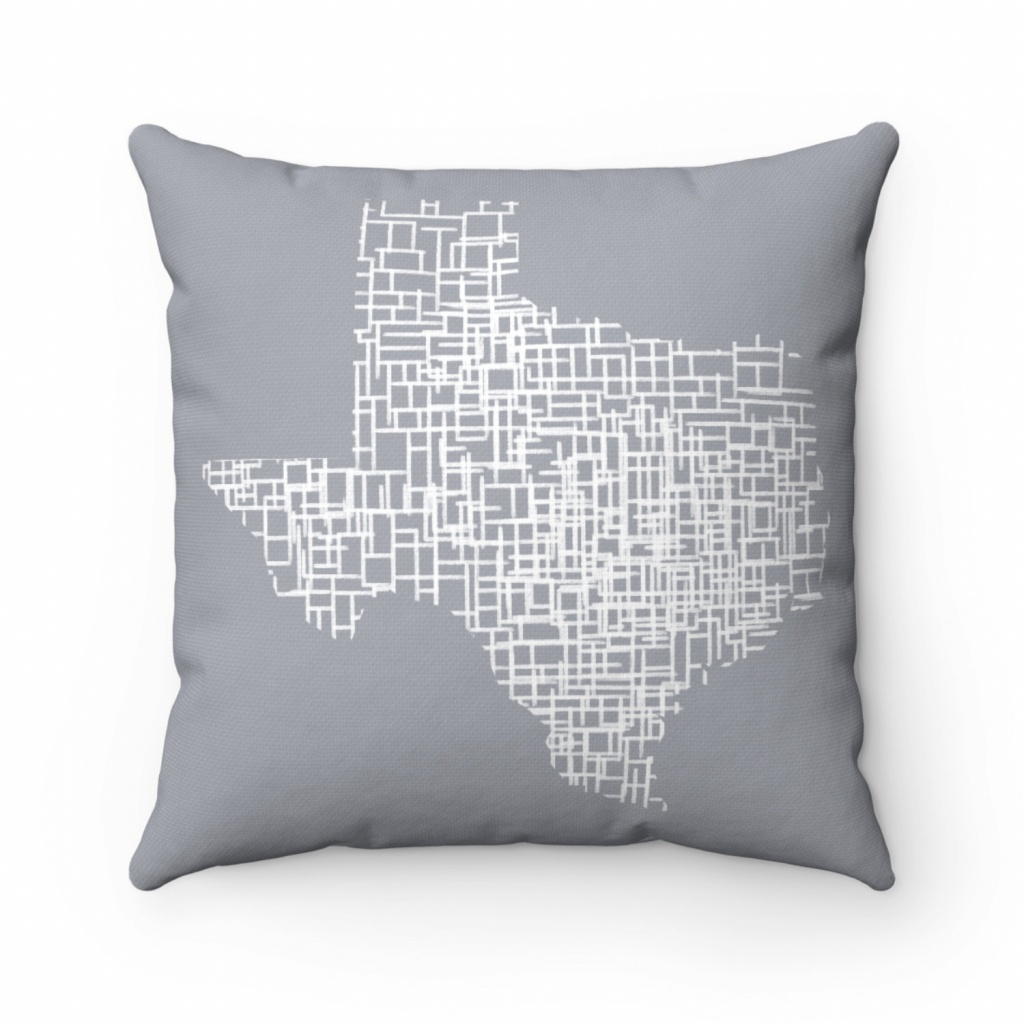 Texas Map Living Room Decor Map Pillow Throw Pillow Covers | Etsy - Texas Map Pillow
