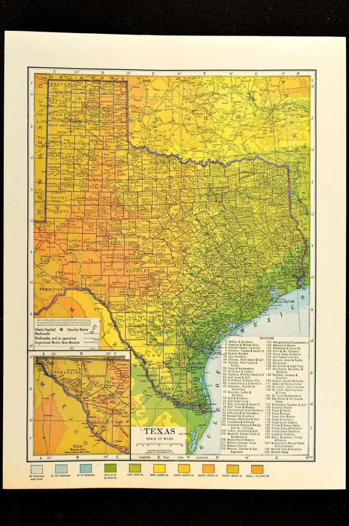Texas Map Of Texas Topographic Map Wall Decor Art Colorful | Etsy - Texas Topo Map