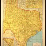 Texas Map Of Texas Wall Art Colored Colorful Yellow Vintage Gift   Old Texas Map Wall Art