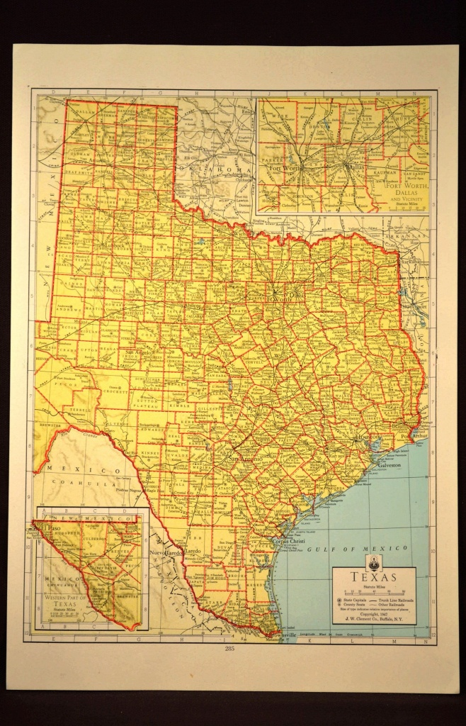 Texas Map Of Texas Wall Art Colored Colorful Yellow Vintage Gift - Vintage Texas Map Prints
