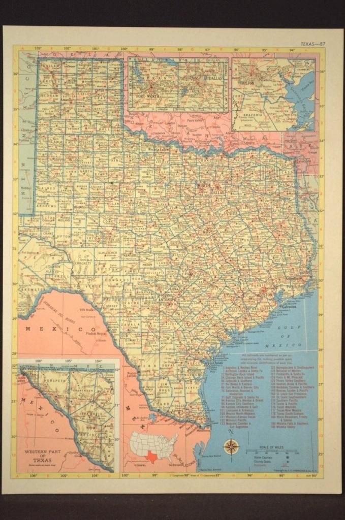 Texas Map Of Texas Wall Art Decor Vintage Old Railroad   Etsy - Old Texas Map Wall Art