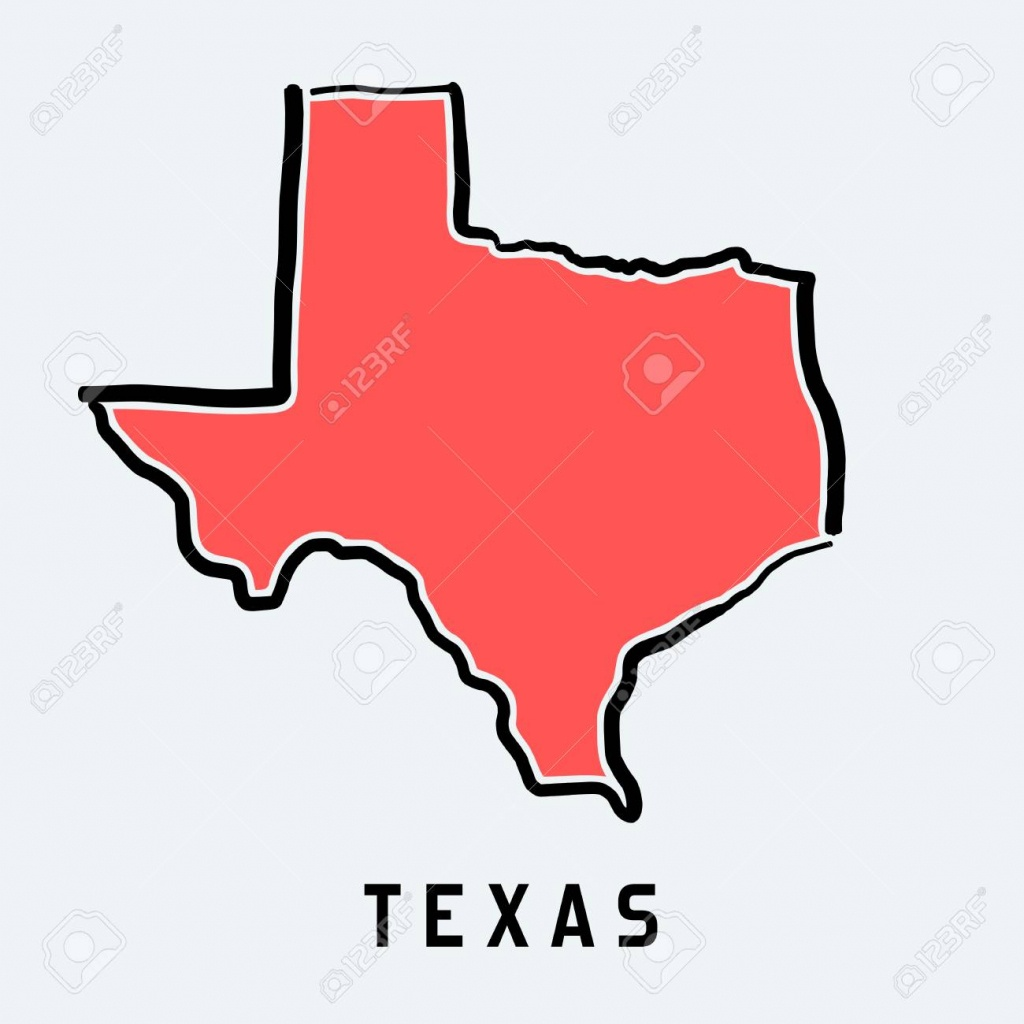 Texas Map Outline - Smooth Simplified Us State Shape Map Vector. - Texas Map Vector Free
