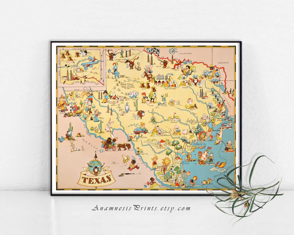 Texas Map Print Vintage Picture Map Whimsical Gift Idea | Etsy - Vintage Texas Map Prints