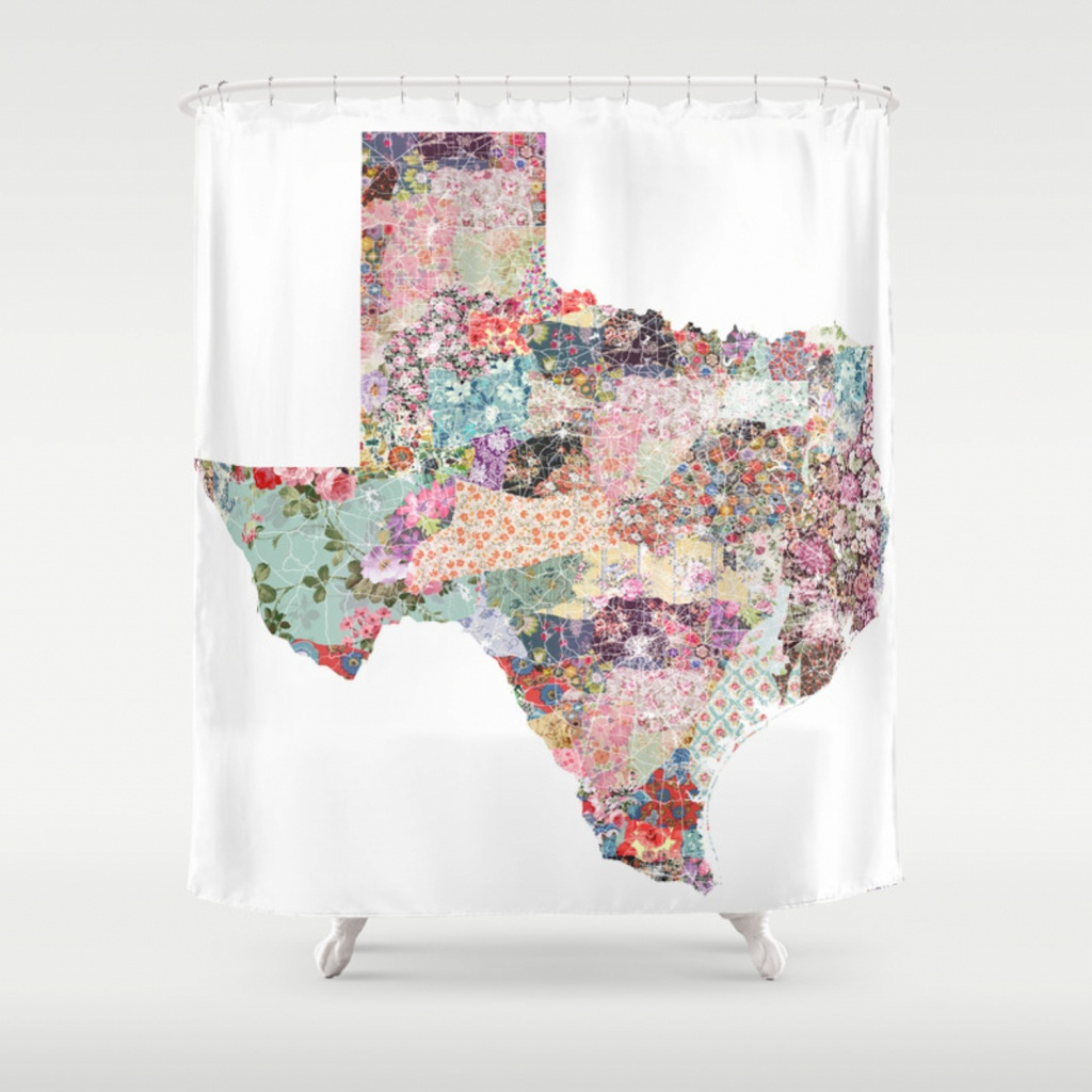 Texas Map Shower Curtainpoeticmaps | Society6 - Texas Map Shower Curtain