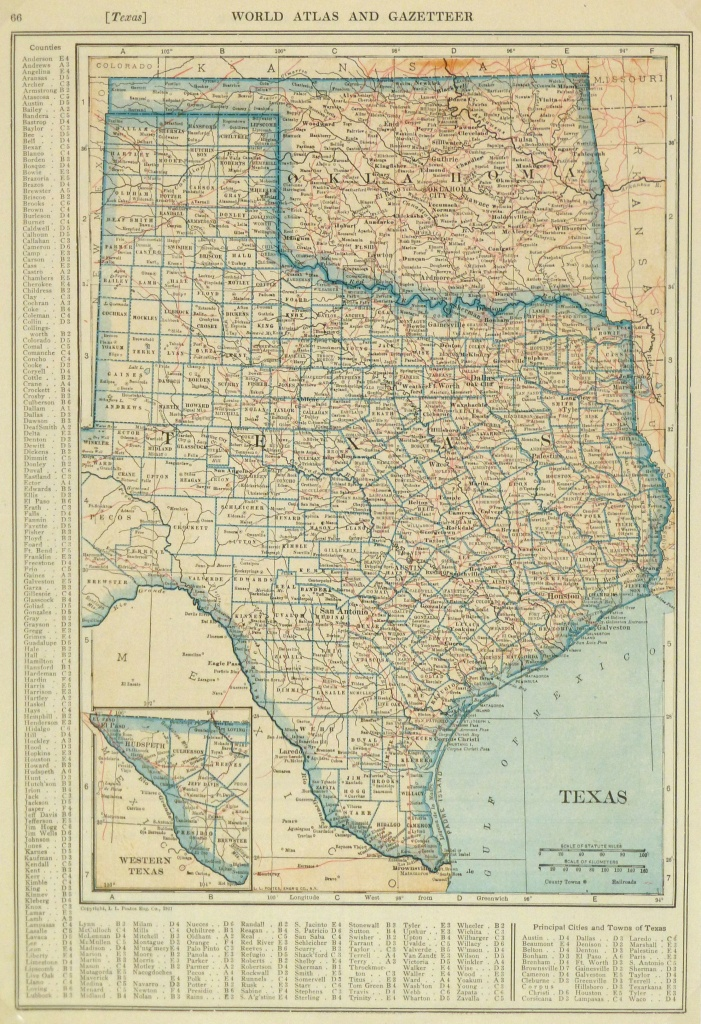 Texas & Oklahoma Map, 1921 - Original Art, Antique Maps & Prints - Map Of Oklahoma And Texas