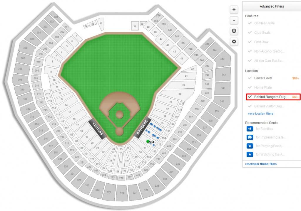 Texas Rangers Globe Life Park Seating Chart & Interactive Map - Texas Rangers Map