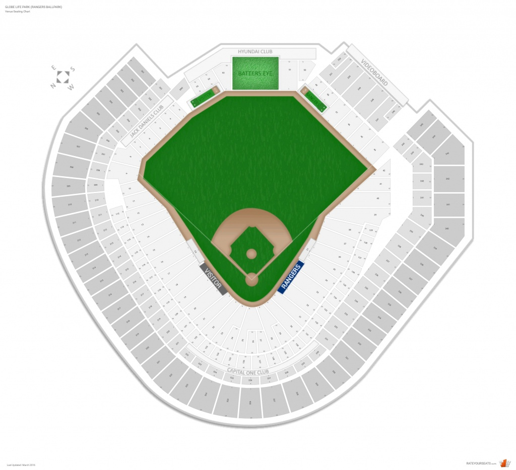 Texas Rangers Seating Guide - Globe Life Park (Rangers Ballpark - Texas Rangers Stadium Map
