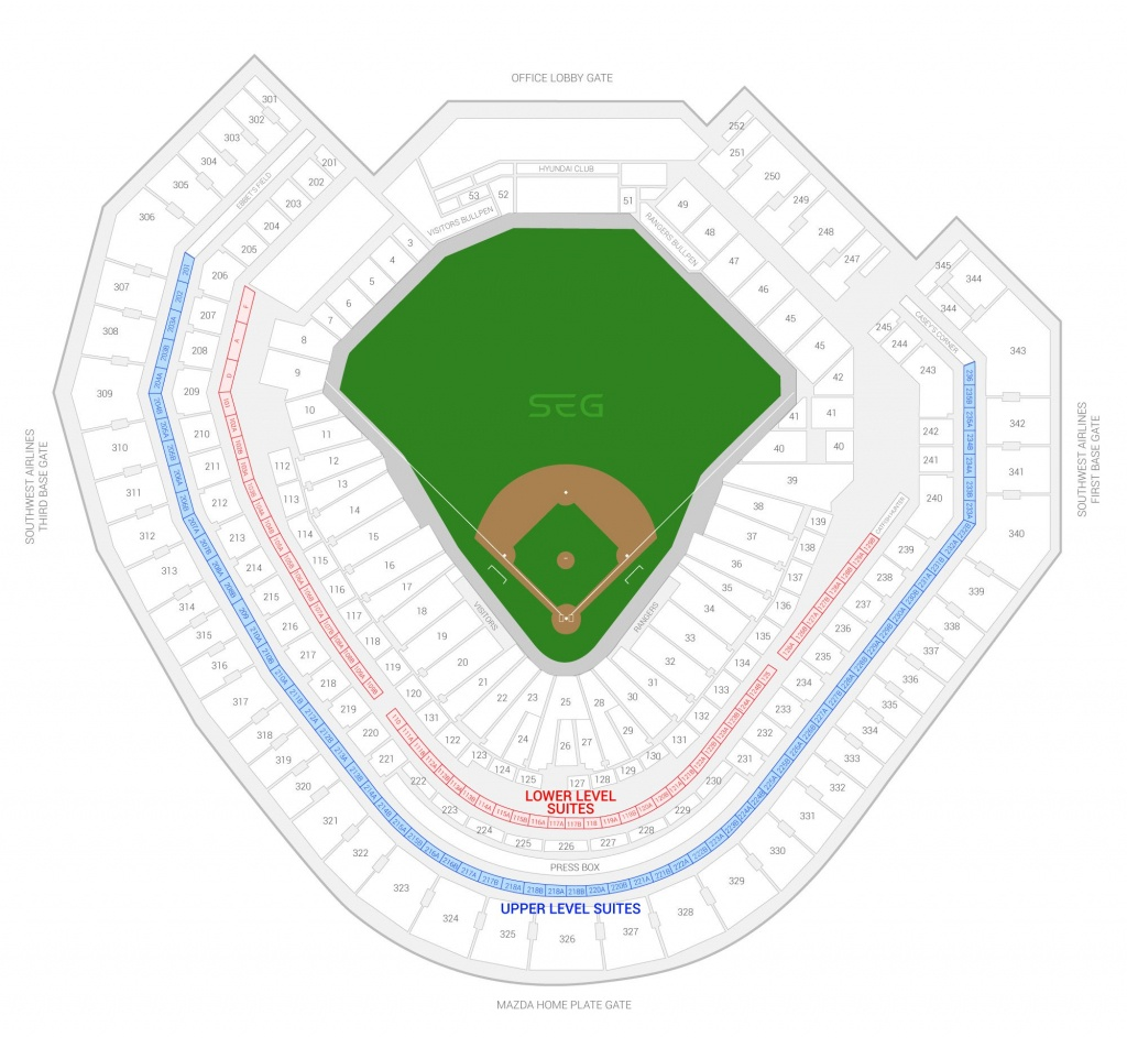Texas Rangers Suite Rentals | Globe Life Park - Texas Rangers Season Ticket Parking Map