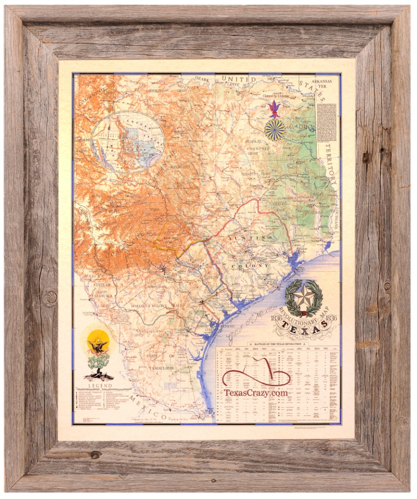 Texas Revolution Map 1836 Large Framed - Framed Texas Map