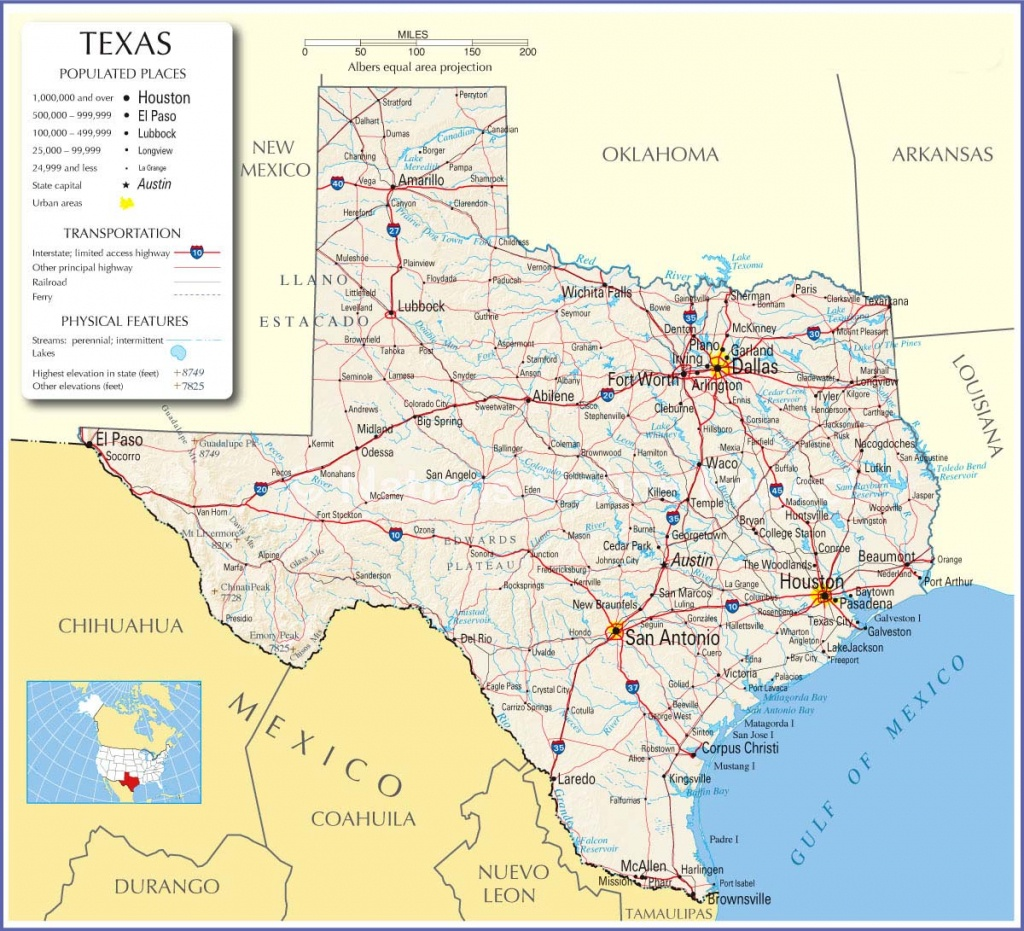 Texas Road Map With Cities And Travel Information | Download Free - Free Texas Highway Map