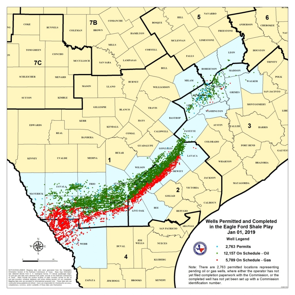 Texas Rrc - Eagle Ford Shale Information - Texas Railroad Commission Drilling Permits Map
