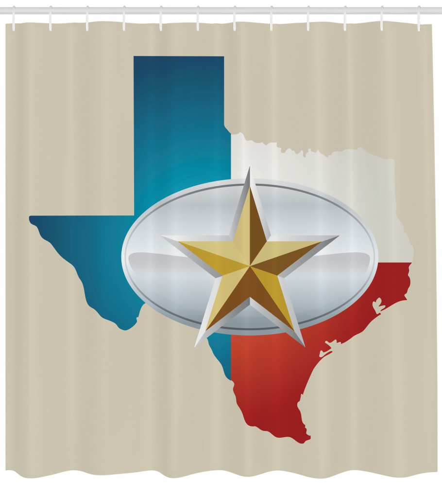 Texas Star Shower Curtain, Cowboy Belt Buckle Star Design With Texas - Texas Map Shower Curtain