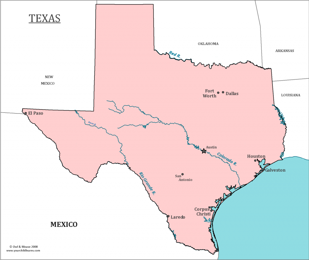 Texas State Map - Map Of Texas And Information About The State - Map Of Texas Major Cities