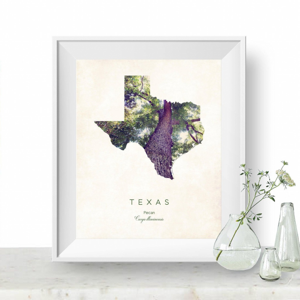 Texas | State Tree Map Art, State Map Print, Map Poster, Wall Art, Art  Print | Home Or Office Decor, Gift For Nature Lover - Texas Tree Map