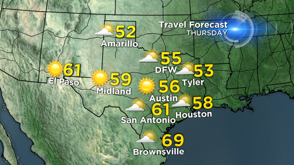 Texas Thanksgiving Travel Forecast – Cbs Dallas / Fort Worth - Texas Forecast Map