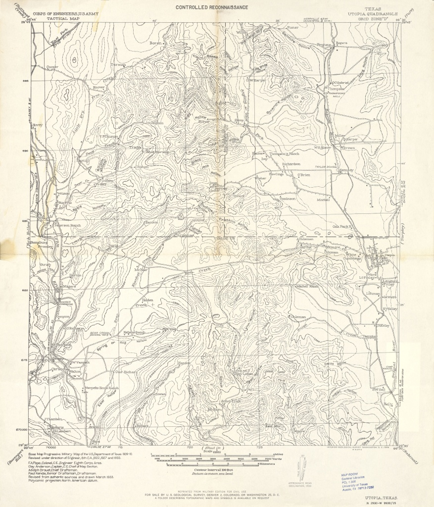 Texas Topographic Maps - Perry-Castañeda Map Collection - Ut Library - Utopia Texas Map