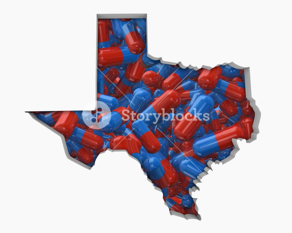 Texas Tx Pills Drugs Health Care Insurance Map 3D Illustration - Map Health Insurance Austin Texas