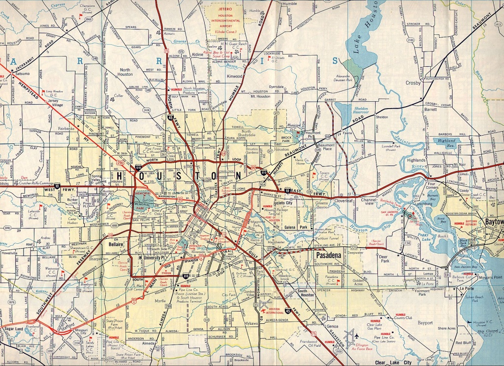 Texasfreeway > Houston > Historical Information > Old Road Maps - Road Map Of Houston Texas