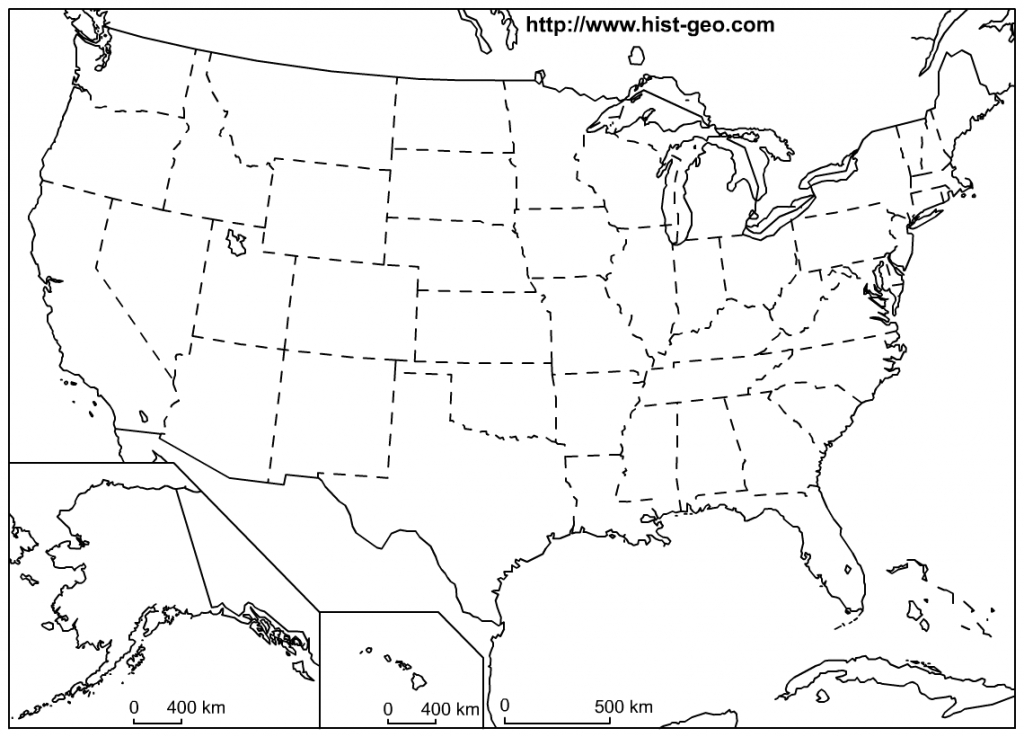 That Blank School Map Displaying The 50 States Of The United States - Map United States Of America Printable