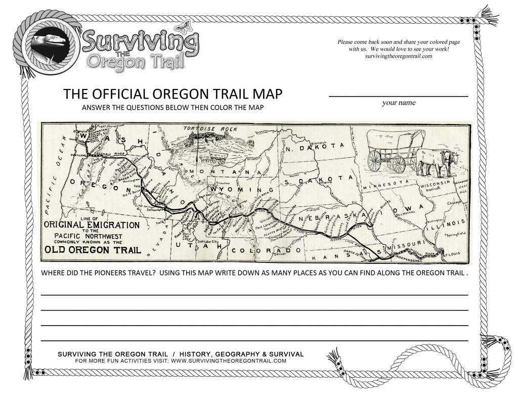 The Actual, The Original Oregon Trail Map! – Surviving The Oregon Trail - Printable Map Of The Oregon Trail