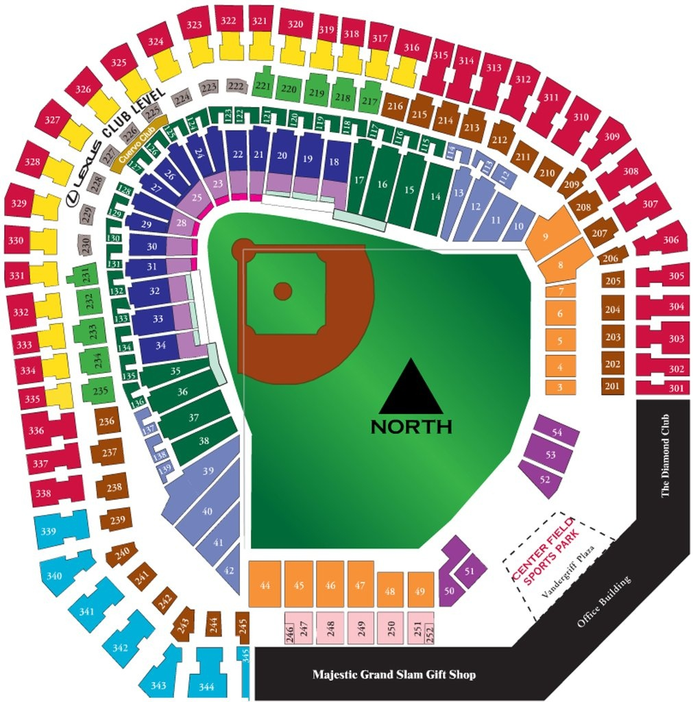 The Ballpark At Arlington - Maplets - Texas Rangers Ballpark Map