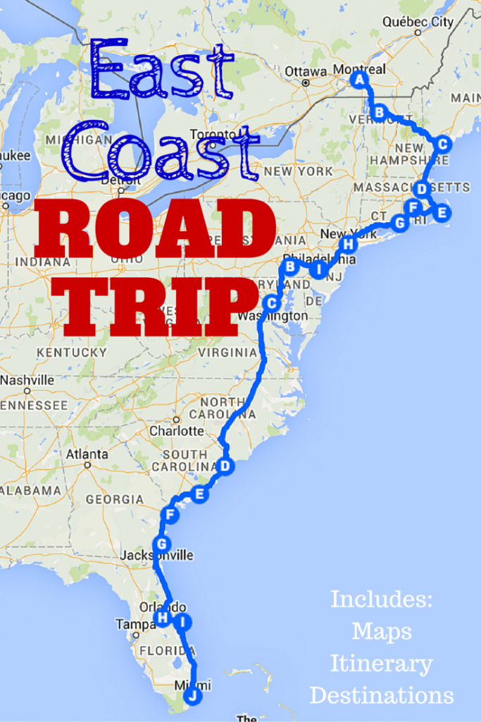 The Best Ever East Coast Road Trip Itinerary | Road Trip Ideas - Florida Vacation Destinations Map