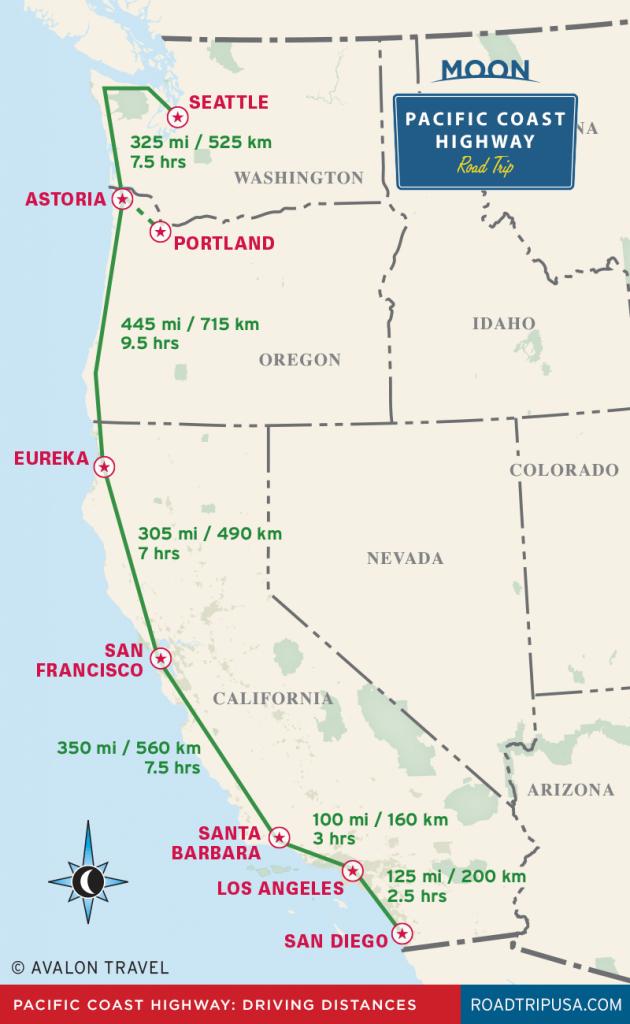 The Classic Pacific Coast Highway Road Trip | Road Trip Usa - Road Map Oregon California