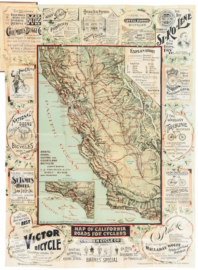 The Cyclers' Guide And Road Book Of California: Containing Map Of - California Road Map Book