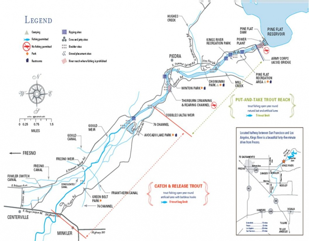 The Ecological Angler - Lower Kings River - California Fishing Regulations Map