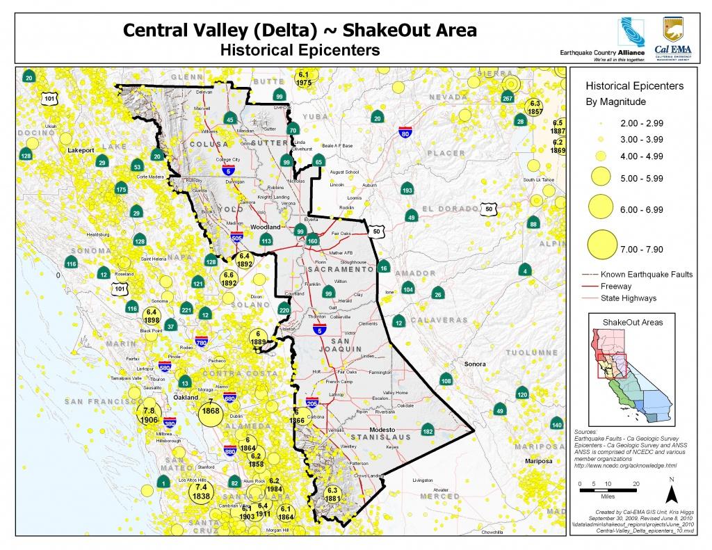 The Great California Shakeout - Delta Sierra Area - Usgs California Nevada Earthquake Map