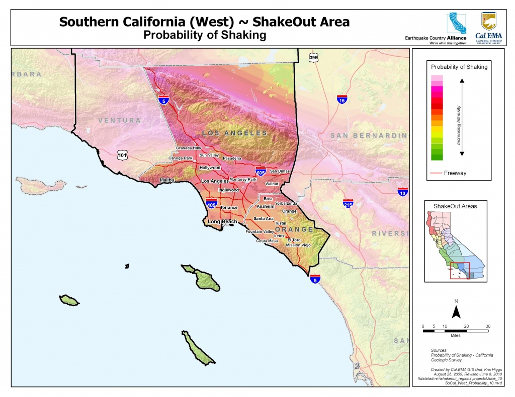 The Great California Shakeout - Southern California Coast Area - Map Of Southern California Beaches