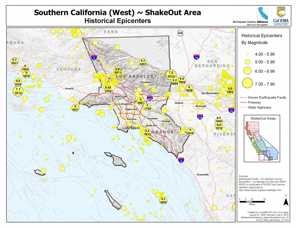 The Great California Shakeout - Southern California Coast Area - Map Of The San Andreas Fault In Southern California
