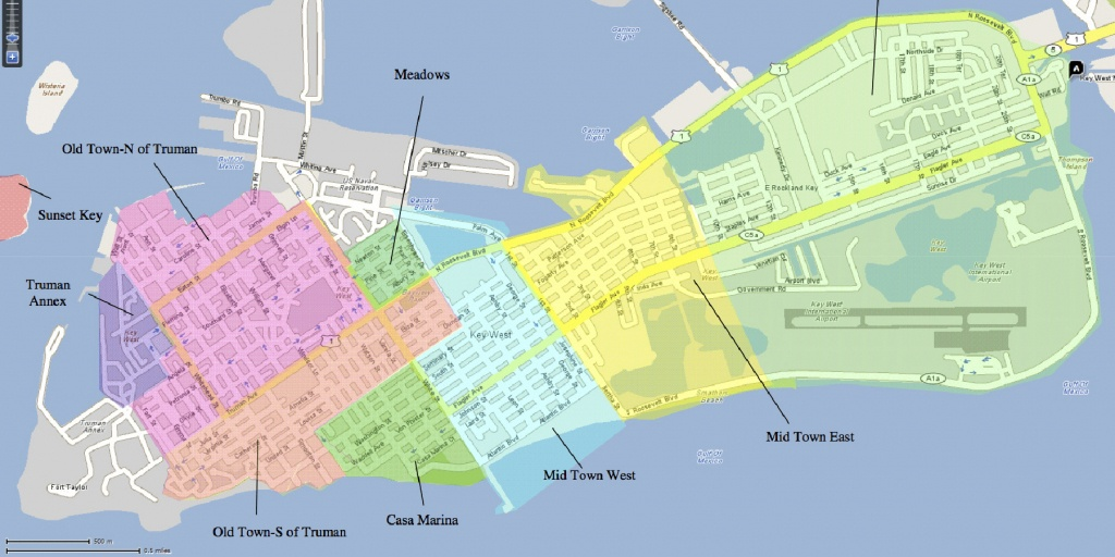 The Neighborhoods Of Key West   Historic Key West Vacation Rentals - Map Of Duval Street Key West Florida