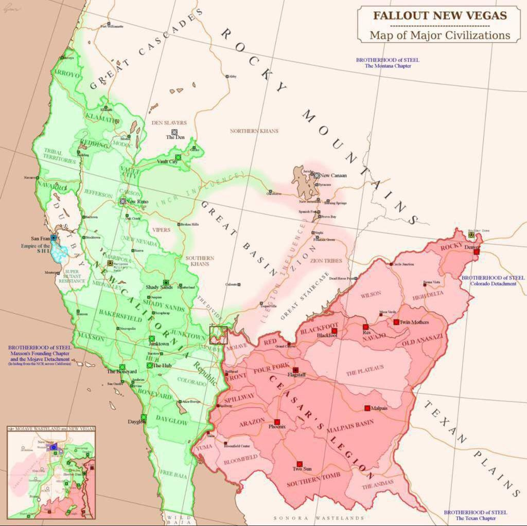 The New California Republic | Wiki | Fallout Amino - Map Of The New California Republic