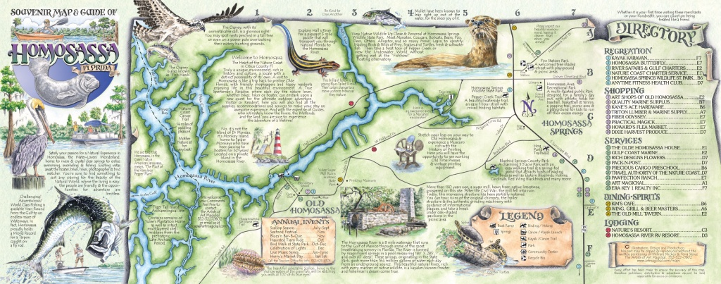 The Souvenir Map & Guide Of Homosassa Springs Fl - Map Of All Springs In Florida
