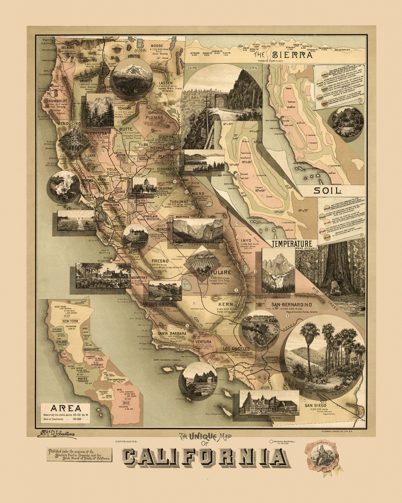 The Unique Map Of California 1888 - Vintage Map, Antique Map - Antique Map Of California