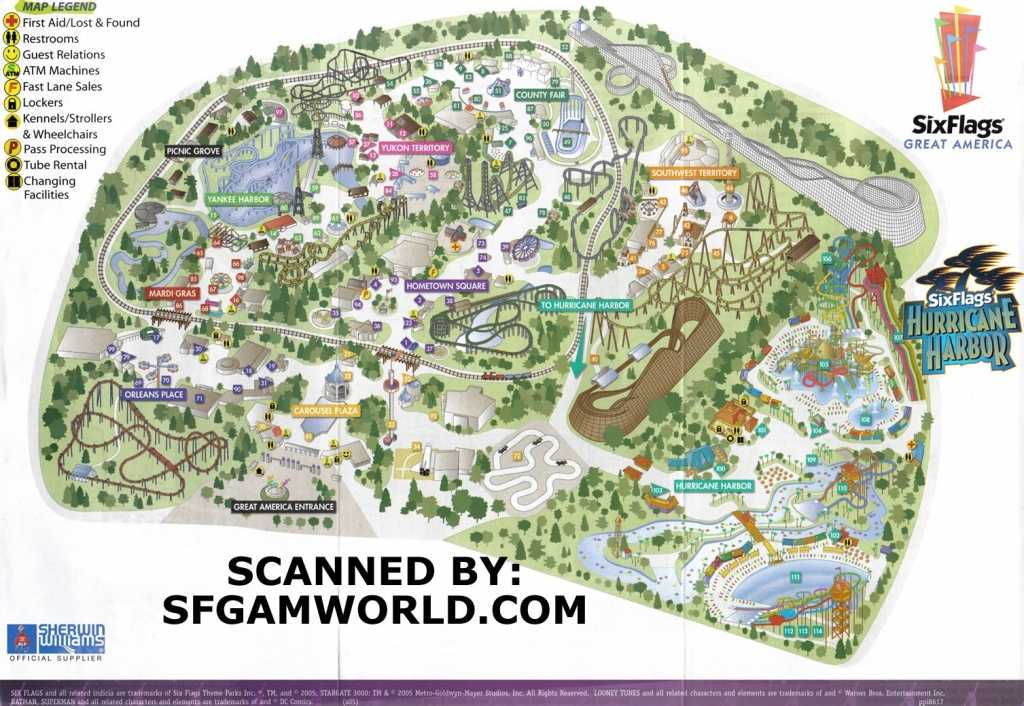 Theme Park Brochures Six Flags Great America In California S Map At - California's Great America Map 2018