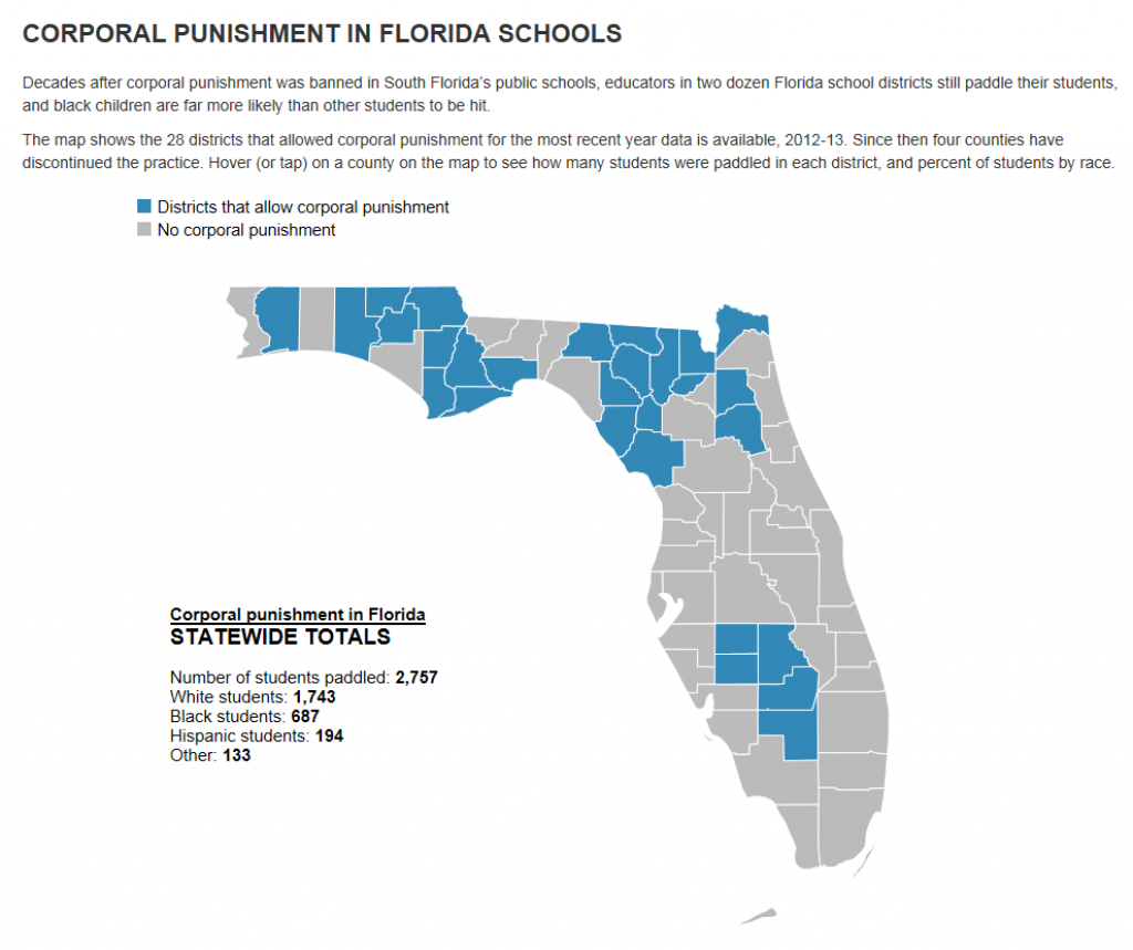 This Map Of Fla. Counties That Spank Students Shows Big Racial - Florida School Districts Map