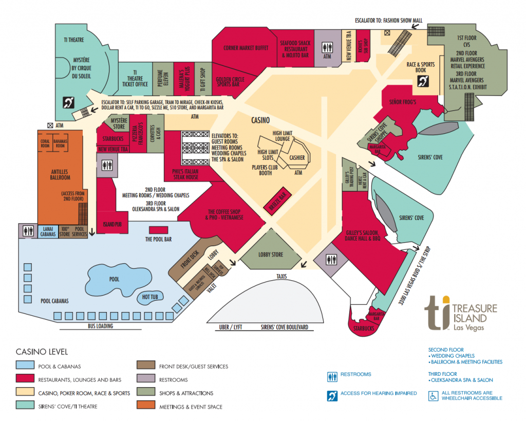 Ti Hotel Property Map Treasure Island Hotel And Casino, Las Vegas - Florida Casinos Map