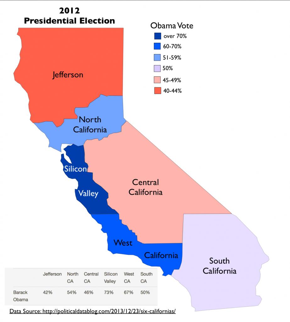 "Tim Draper's Proposed ""Six Californias"" | Geocurrents - Divide California Map"