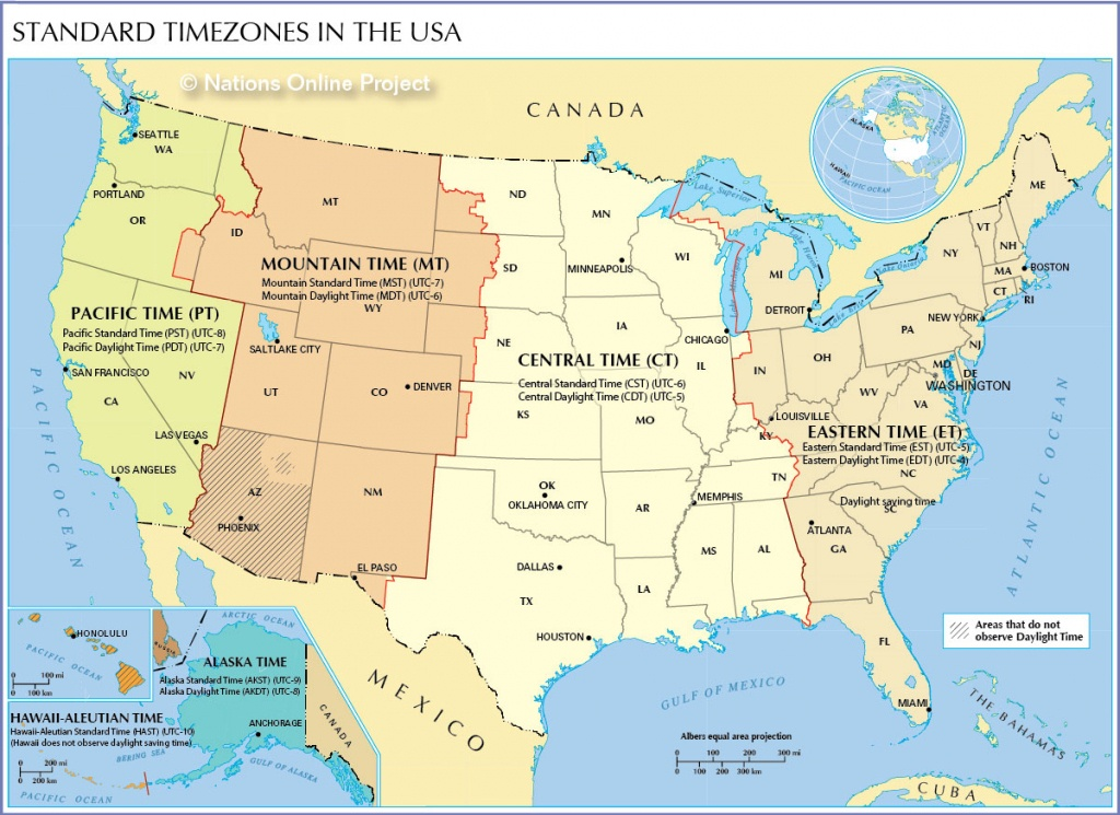 Time Zone Map Of The United States - Nations Online Project - Printable Map Of Us Time Zones With State Names