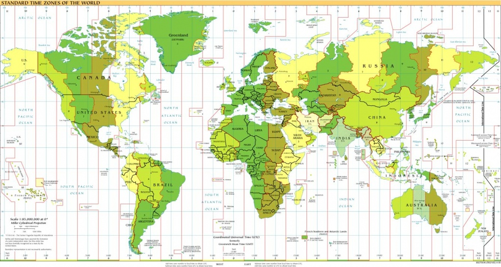Time Zones Of The World Map (Large Version) - Printable World Time Zone Map